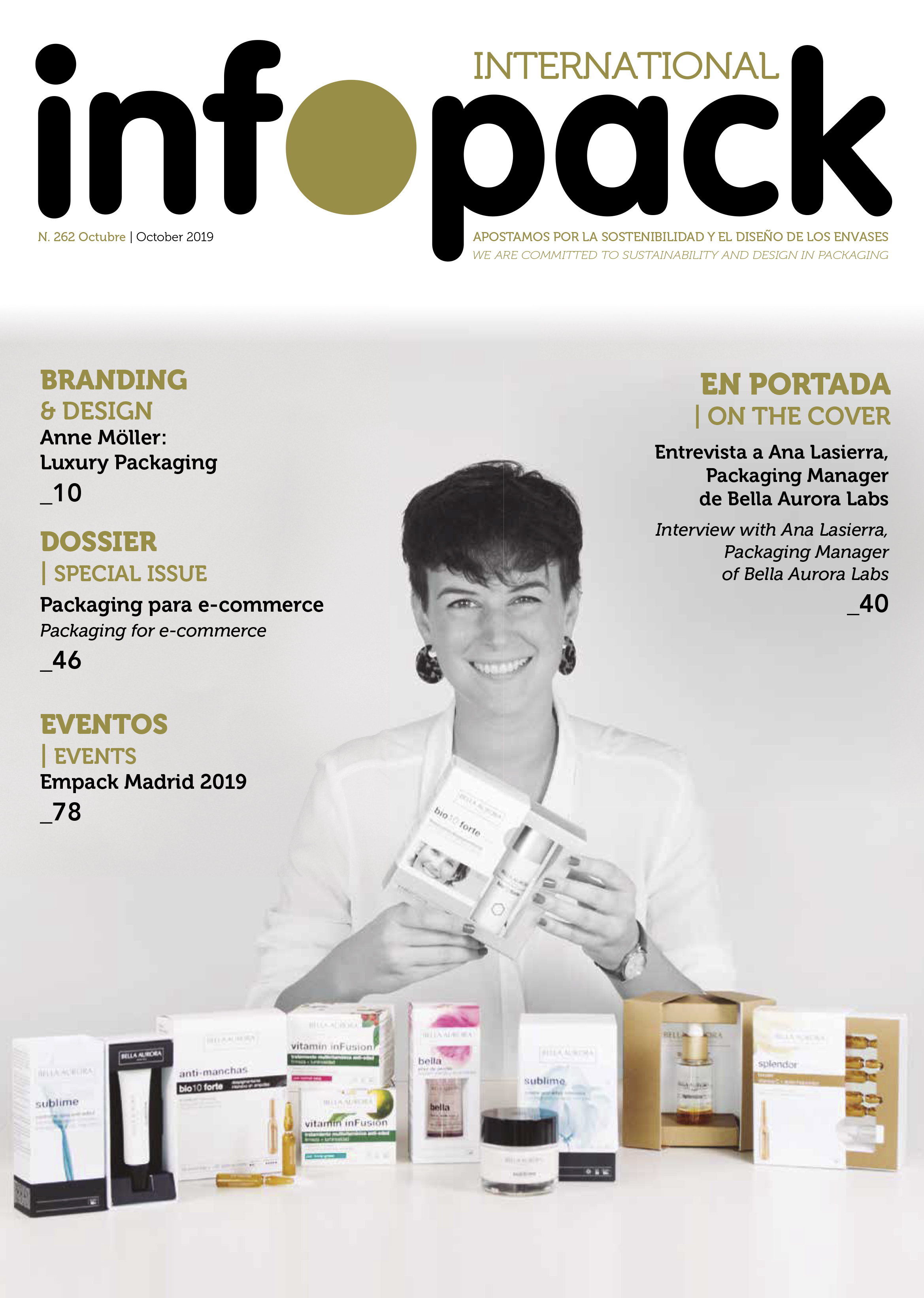 Ana Lasierra, on the cover of Infopack magazine